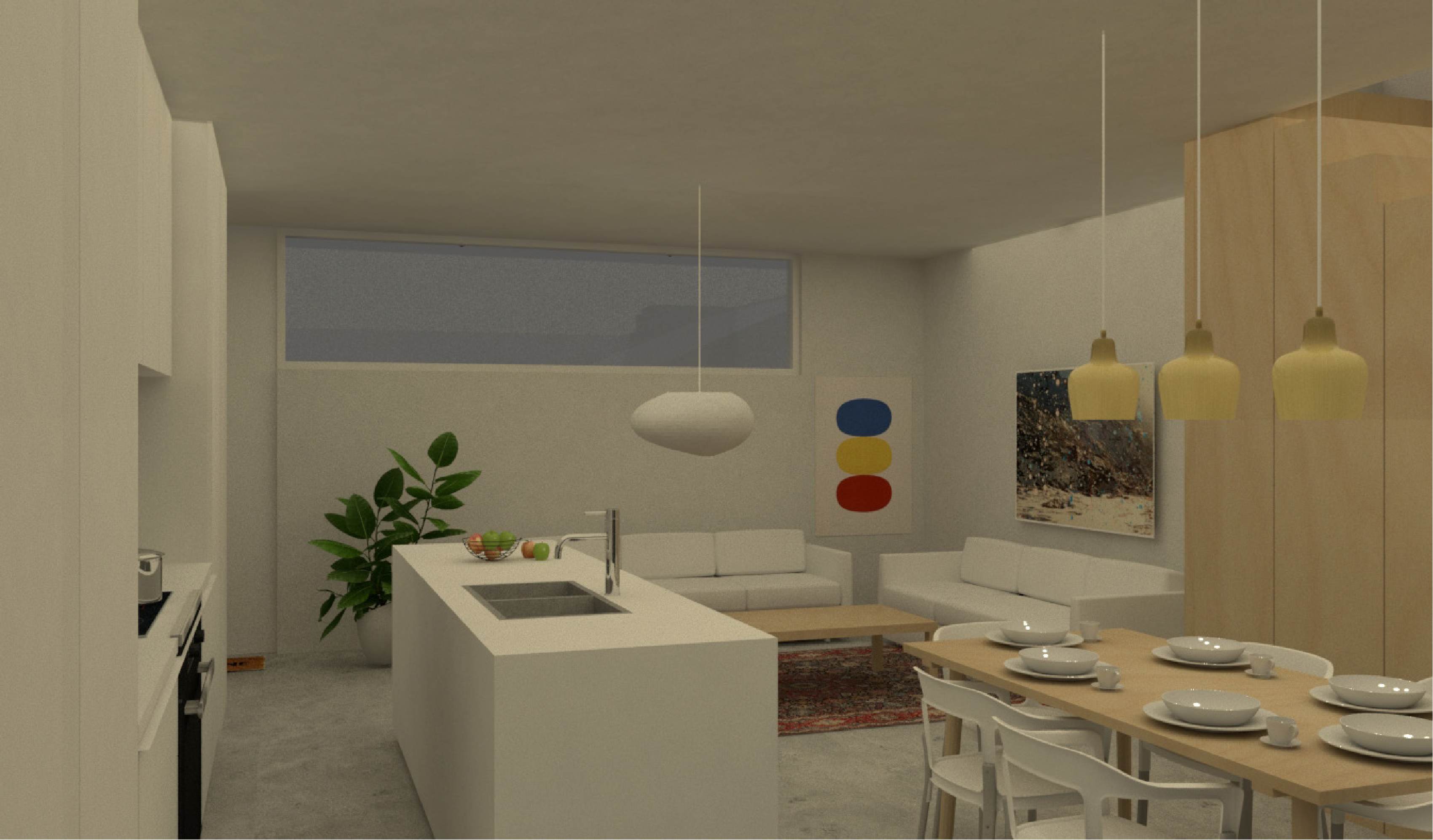 Interior Rendering — Typical 20' wide lot